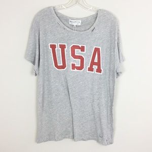 WILDFOX | USA Gray Distressed Tee - M1